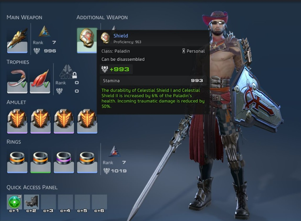 Skyforge Paladin equipment page